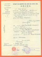 52 Dommarien - Généalogie - Extrait Acte De Décès En 1959 - Timbre Fiscal - VPAN 3 - Décès