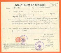 52 Maatz - Généalogie - Extrait Acte De Naissance En 1907 - Timbre Fiscal - VPAN 3 - Naissance & Baptême
