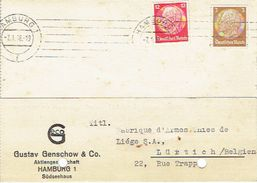 """1935, HAMBURG To LÜTTICH (BELGIUM) Firmenlochung Perfin """"G"""" Auf Postkarte GUSTAV GENSCHOW & Co, HAMBURG - Germania"""