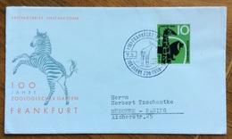 ZOOLOGIA ANIMALI ZEBRA GIRAFFA LEONE BUSTA ED ANNULLO SPECIALE FRANCOFORTE GERMANIA 1958 - Rodents