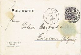 "1920, FRANKFURT To LÜTTICH (BELGIUM) Firmenlochung Perfin ""A.H.G."" Auf Postkarte A.H. GUGGENHEIM, FRANKFURT - Briefe U. Dokumente"