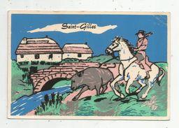 Cp , Velours , SAINT GILLES , CAMARGUE , Cheval , Taureau , Vierge , Ed : Soven - Cartes Postales