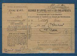 Carte De Service Militaire De Tlemcen ( Algérie ) Le 29 Aout 1939, Centre De Mobilisation De Cavalerie D'af. N° 2 - Marcophilie (Lettres)