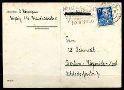 """DDR,Leipzig 1950 Bedarfspostkarte Mit SBZ 216 U.Propaganda MWST""""Leipzig C2-Die Tat Der Menschheit FRIEDEN,.....""""1 Karte - DDR"""