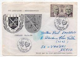 """1988-Lettre""""Souvenir Du Jumelage Ste Luce Sur Loire-44--HERZOGENAURACH-D (blason)-tp Seul Sur Lettre-cachet Commémoratif - Marcophilie (Lettres)"""