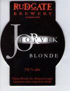 RUDGATE BREWERY (TOCKWITH, ENGLAND) - JORVIK BLONDE - PUMP CLIP FRONT - Uithangborden