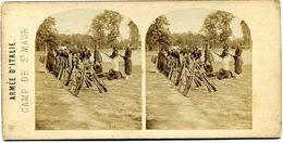Photos  Stéréoscopiques Albuminées - Armée D' Italie - Camp De Saint Maur ( Par  Frères Gaudin  En 1859 ) - Fotos Estereoscópicas