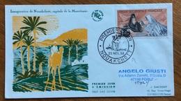 ZOOLOGIA ANIMALI CAMMELLO SU BUSTA INAUGURATION DE NOAUKCHOTT MAURITANIA  AFRICA OCCIDENTALE FRANCESE 1958 - Congo Francese - Altri