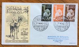 ZOOLOGIA ANIMALI CAMMELLI SU BUSTA SAHARA  SPAGNOLO DEL 1951 - Congo Francese - Altri
