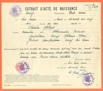 52 Occey - Généalogie - Extrait Acte De Naissance En 1879 - Timbre Fiscal - VPAN 3 - Birth & Baptism