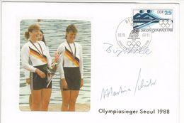 D.D.R. Enveloppe Avec Photo Et Autographe Aviron JO SEOUL 1988 -- Brief Mit Foto Und Autogramm OS SEOUL 1988 Rudern - Lettres & Documents