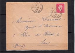 Mne De DULAC  1f50  Rose   Sur Lettre De  VILLEBLEVIN Yonne  Le 20 1 1945    Pour SENS Yonne  Cachet PERLE - 1944-45 Marianne (Dulac)