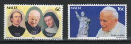 Malta Set Of Stamps To Celebrate Visit Of Pope John Paul II  2001. - Malta