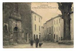 CPA 83 CORRENS La Place De L'église Et L'hotel Des Postes Et Telegraphe - Frankrijk