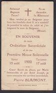 TARCIENNES Pierre Blaimont 1922 Ordination Sacerdotale Souvenir Curé Pater Priesterwijding Priester - Images Religieuses