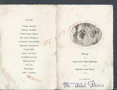 ANCIEN MENU À LA BELLE EPOQUE MARIAGE Melle PHOLLOPE MARIE & DE BADCAR LOUIS 1935 - Menus