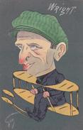 Carte Postale  Ancienne  De L'aviateur  WRIGHT  Signée GEO  La Tète Est En Relief ( Découpi) Carte Rare - Aviateurs