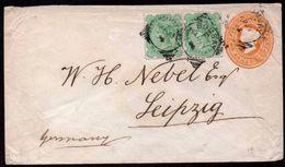 BRITISH INDIA To GERMANY Postal Stationery + 2 Additional Stamps Bombay To Leipzig 1895 - India (...-1947)