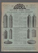 Joué Les Tours (37 Ndre Et Loire) Dépliant GOBEL Cylindres à Eau Chaude, Plats, Moules à Gateaux... 1938 (PPP6232) - Advertising