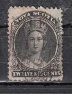 New Scotia  Nouvelle   Ecosse  YT N°10   12 1/2  Noir Papier  Blanc - Oblitérés