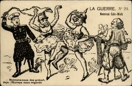 MILITARIA - Carte Illustrée - Guillaume II - Casque à Pointe - Humoristiques