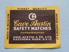 CAVE AUSTIN Safety Matches : Formaat +/- 6,5 X 8,5 Cm. ( Zie Foto's ) ! - Matchbox Labels