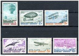 Gabon, 1973, Aviation, Balloon, Zeppelin, Airplane, MNH, Michel 501-506a - Gabon