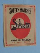 Safety Matches SPARTA Made In Belgium : Formaat +/- 6,5 X 8,5 Cm. ( Zie Foto's ) ! - Cajas De Cerillas - Etiquetas