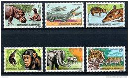 Gabon, 1967, Animals, Hippo, Crocodile, Chimp, Elephant, Panther, MNH, Michel 260-265 - Gabon