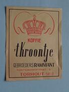 Koffie 't KROONTJE Gebroeders RAMMANT Kortemarkstraat 9 Tél 9 TORHOUT : Formaat +/- 6,5 X 8,5 Cm. ( Zie Foto's ) ! - Boites D'allumettes - Etiquettes