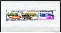 Gabon, 1981, Trains, Speed Record, Stephenson, Railroad, MNH Overprinted Sheet, Michel Block 44 - Gabon