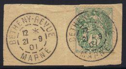 Oblitération Betheny Revue 1901 Sur Fragment (indice 13 Sur Document) - Marcophilie (Timbres Détachés)
