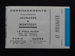 PLAQUETTE COMMERCIALE DES DEMENAGEMENTS JAUNASSE & MONTFORT LE POULIGUEN (44) Vers 1950 - Transports