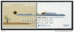 Greece - 2012 - Europa CEPT, Visit Greece - Mint Stamp Set (with Gold Embossing) - Ongebruikt