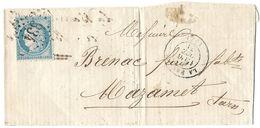 LETTRE Avec N°60 A2  POSITION  59  TTB - 1871-1875 Cérès