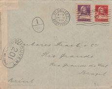 Suisse Lettre Censurée Pour Le Brésil 1918 - Marcofilia