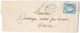 LETTRE Avec N°60 A2  POSITION 85  TTB - 1871-1875 Cérès