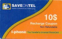 RECHARGE COUPON SAVE ON TEL *10$ (Origine Inconnue) - Télécartes