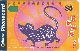 AUSTRALIA - 1996 Chinese Year Of The Rat/Distribute Goods Freely, Tirage 50000, Used - Zodiaco