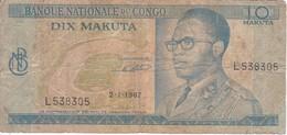 BILLETE DE EL CONGO DE 10 MAKUTA DEL AÑO 1967 (BANKNOTE) - Congo
