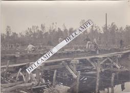 GUNY Ligne Du Chemin De Fer Guerre 14/18 - Photo Du Pont En Travaux Lors D'une Inspection Militaire Nov.1918 - Lieux