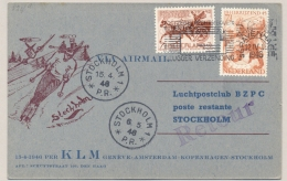 Nederland - 1946 - KLM First Flight 3x Weekly From Amsterdam To Stockholm (and Retour) - Brieven En Documenten