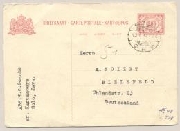 Nederlands Indië - 1932 - 10 Cent Cijfer Briefkaart G49 Echt Gebruikt Van LB SOLO Naar Bielefeld / Deutschland - Indes Néerlandaises