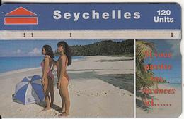 SEYCHELLES ISL. - Girls On The Beach, CN : 708A, Tirage 44000, Used - Seychelles