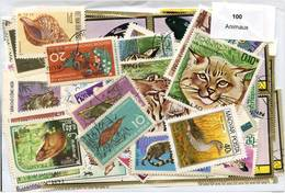 Lot 100 Timbres Thème Animaux - Timbres