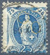 Stehende Helvetia 93B, 25 Rp.blau  ABART           1908 - Usati