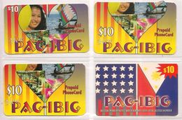 4 CARTES- PREPAYEE-USA-10$-PAG-IBIG-V° Differents-Plastic-FIN-TBE-RARE - Etats-Unis