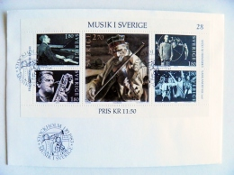 Cover Sweden 1983 Special Cancel Musik Music Musical Instruments Abba Pop Opera Jazz Folk M/s - FDC