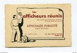 """Belle Carte De Visité Années 30 """"Les Afficheurs Réunis"""" Paris - Affiches De Cinéma - Publicité - Film - Cartes De Visite"""