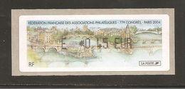 France, Distributeur, 573, Paris, Congrès FFAP, 2004, Type Z, Neuf **, LISA - 1999-2009 Vignettes Illustrées